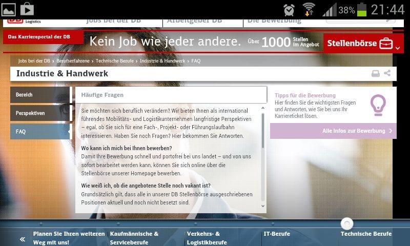 Personalmarketing: Das Karriere-Website-Desaster der Bahn in 24 Schritten: ...auch die FAQ geben keinen Aufschluss