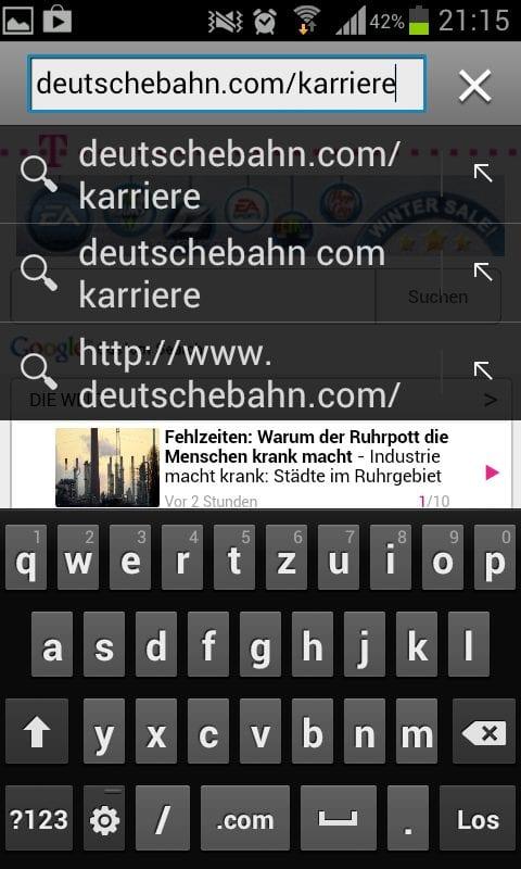 Personalmarketing: Die Karriere-Website der Bahn - Wir geben die Adresse ein