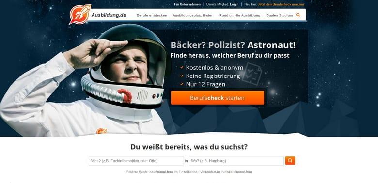 Ausbildungsmarketing auf ausbildung.de - Die nutzerfreunldiche Startseite bietet eine klare Struktur