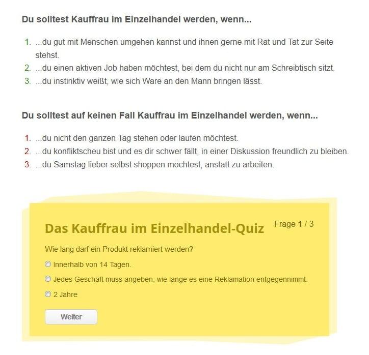 Detailinfos und Berufsquiz auf ausbildung.de