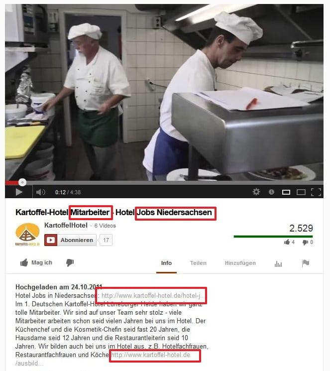 Employer Branding auf Youtube am Beispiel Kartoffelhotel - Infos bereitstellen und Website verlinken