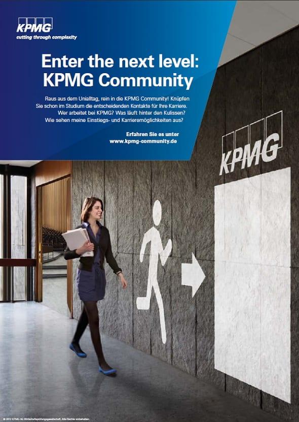 Enter the next level - Anzeige, mit der die KPMG Community beworben wird