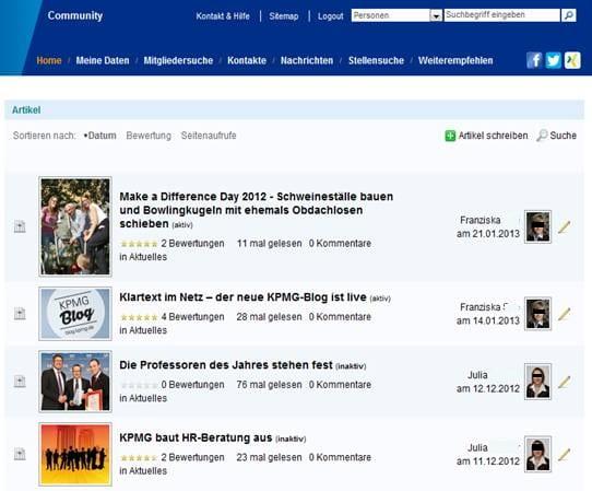 Personalmarketing bei KPMG - Einblick in die Artikel der Community