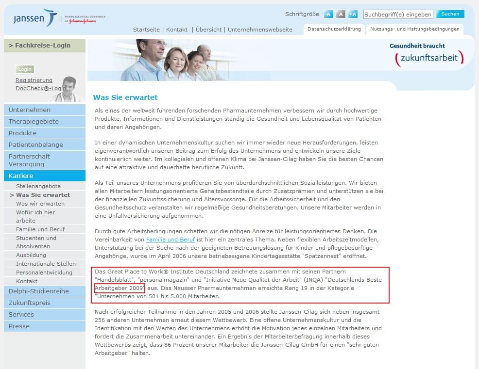 Great Place to Work - Deutschlands bester Arbeitgeber - Janssen Cilag-Karriere-Website - Infos sucht man vergeblich