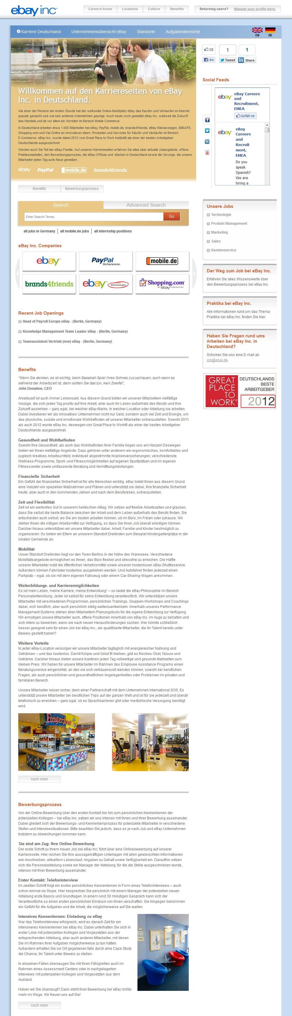 Great Place to Work - Karriere-Website von eBay - Scroll- und Textwüste