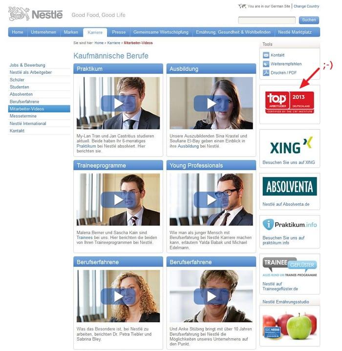 Employer Branding made by Nestle - Mitarbeiter Videos auf der Karriere-Website - eher Werbeclips als Informationen