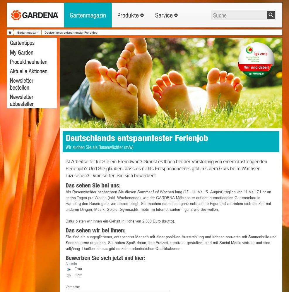 Deutschlands entspanntester Ferienjob - Rasenwächter bei Gardena