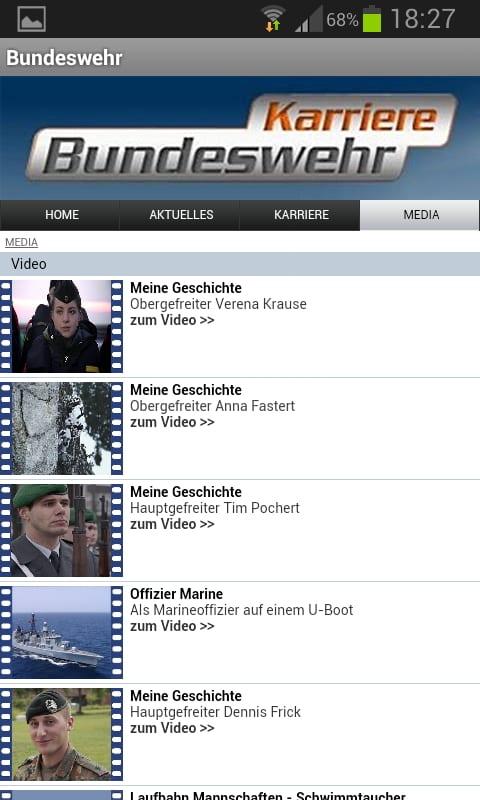 Die mobile Job App von Bundeswehr Karriere bietet jede Menge Videos