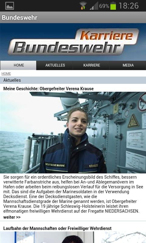 Mobile Job App von Bundeswehr Karriere - jede Menge Infos
