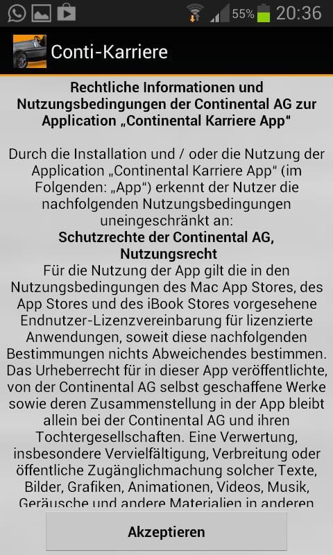 Mobile Recruiting bei Continental - zunächst gilt es die Nutzungsbedingungen zu akzeptieren