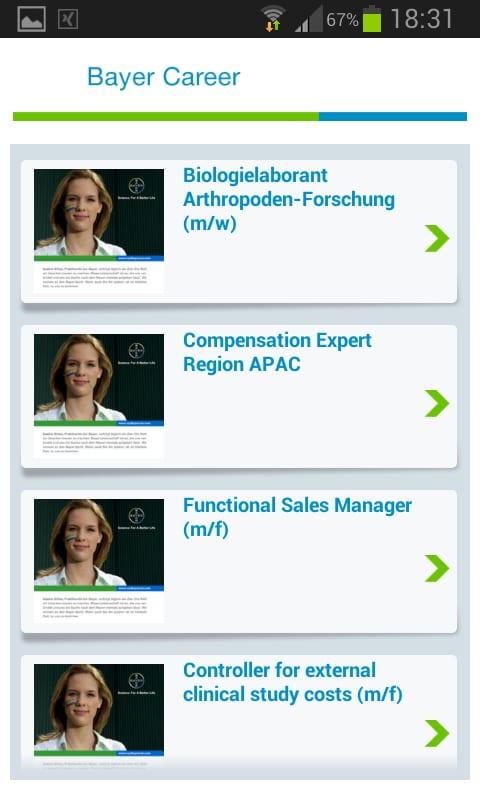 Mobile Recruiting mit der Bayer Karriere-App - Ansicht der Jobs
