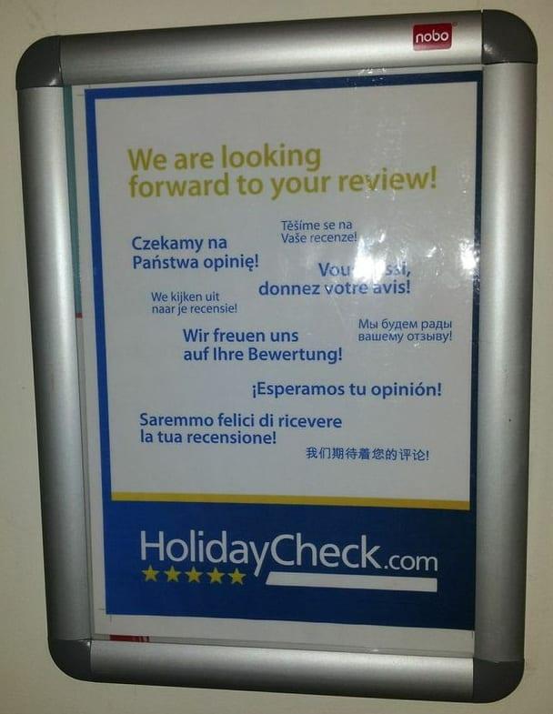 Aufforderung zur Bewertung bei Holidaycheck