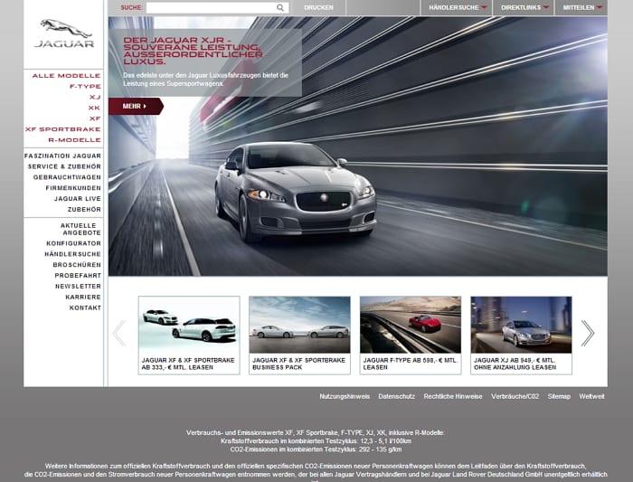 Homepage von Jaguar Deutschland