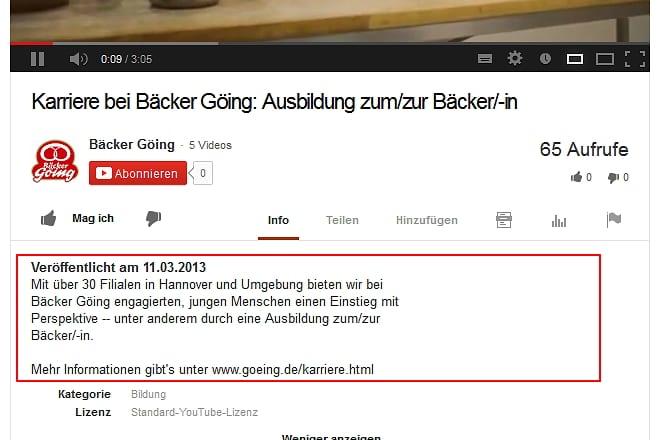Ausbildungsmarketing auf Youtube - Mehr Infos und Verlinkung darf schon sein
