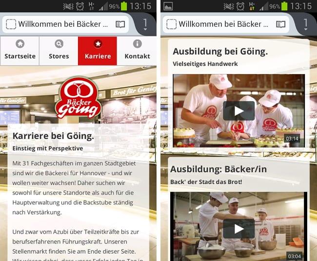 Ausbildungsmarketing im Bäckerhandwerk - Die mobil optimierte Website der Bäckerei Göing