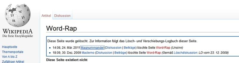 Word-Rap-bei Wikipedia gelöscht