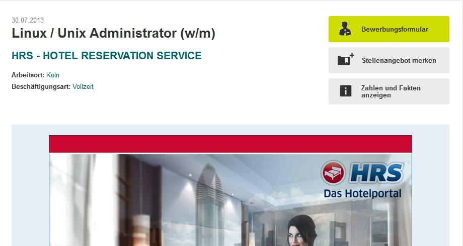 Xing Stellenanzeige ohne integrierte kununu-Bewertung - HRS