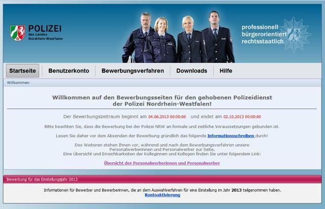 Die Bewerbungsseiten der Polizei NRW