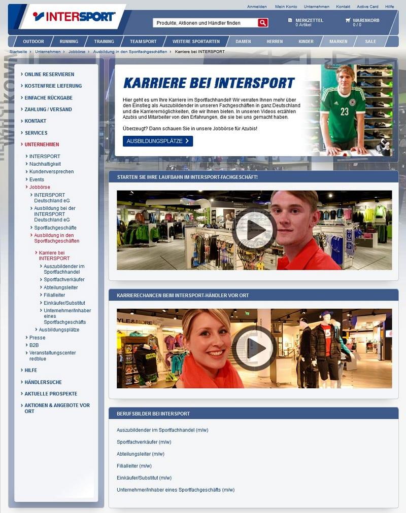 Intersport - Infos für Azubis erst nach X Klicks
