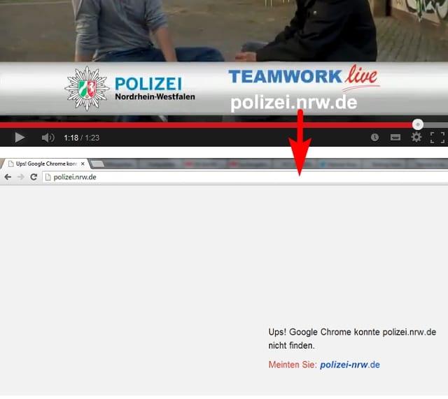 Polizei NRW - ein Link der ins Leere führt