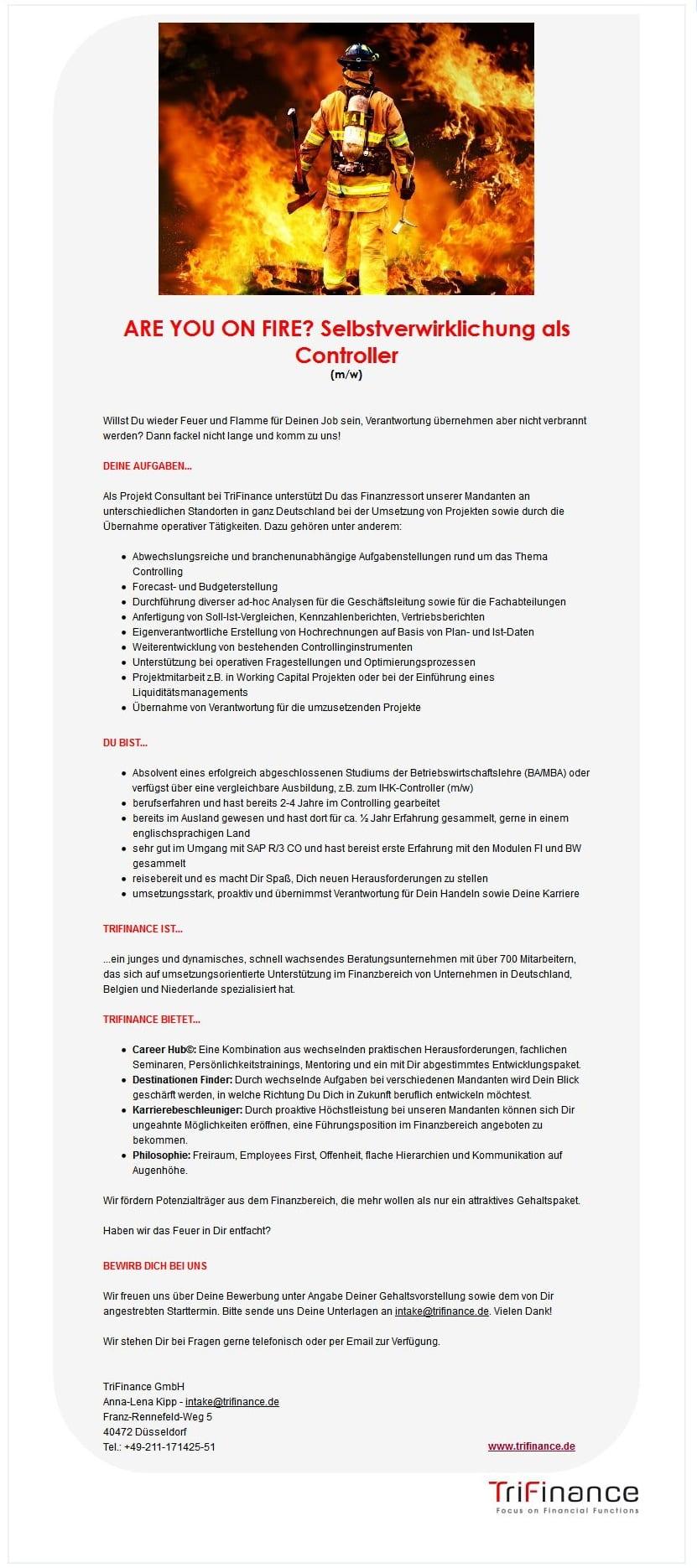 Ist das Stellenangebot Controller gutes Personalmarketing? - Quelle: Trifinance