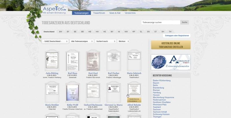 Aspetos.de - Social Network für Trauernde