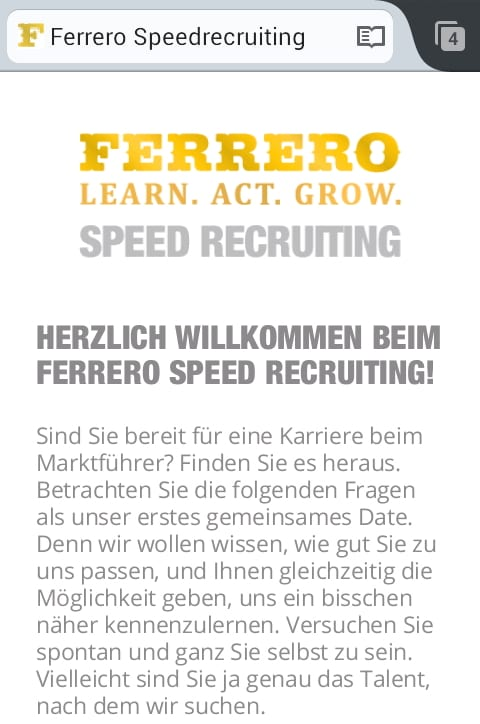 Ferrero Speed Recruiting Microsite