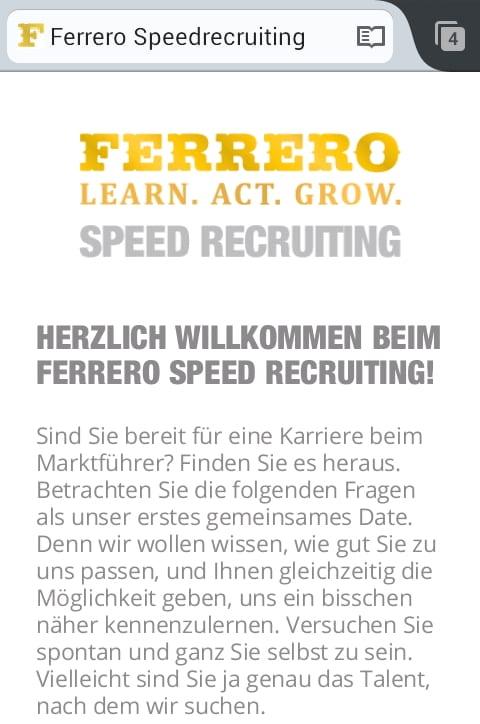 Ferrero Speed Recruiting Microsite