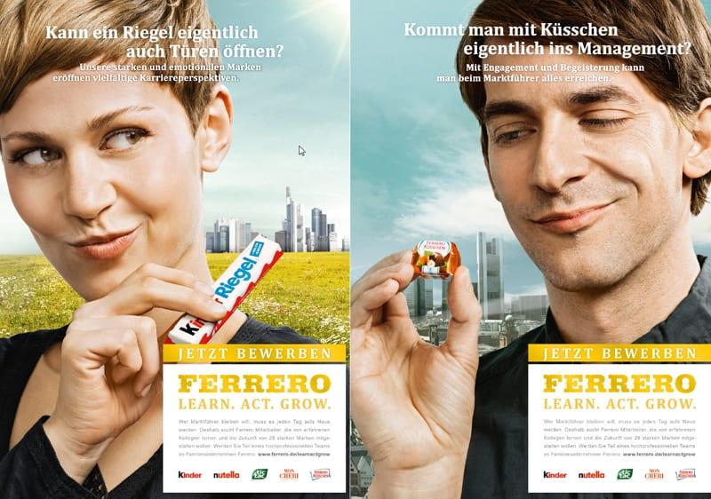 Employer Branding bei FERRERO - im Fokus steht in den Imageanzeigen das Produkt, nicht der Mensch