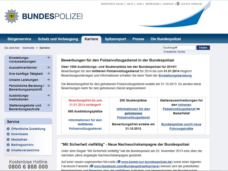 Karriere-Website der Bundespolizei