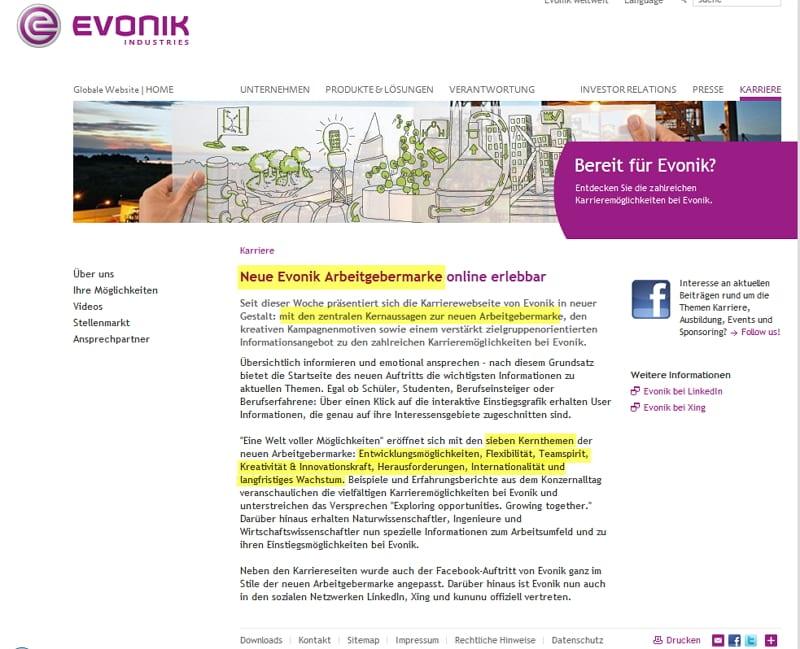 Neue Evonik Arbeitgebermarke online erlebbar - was ist mit der alten?