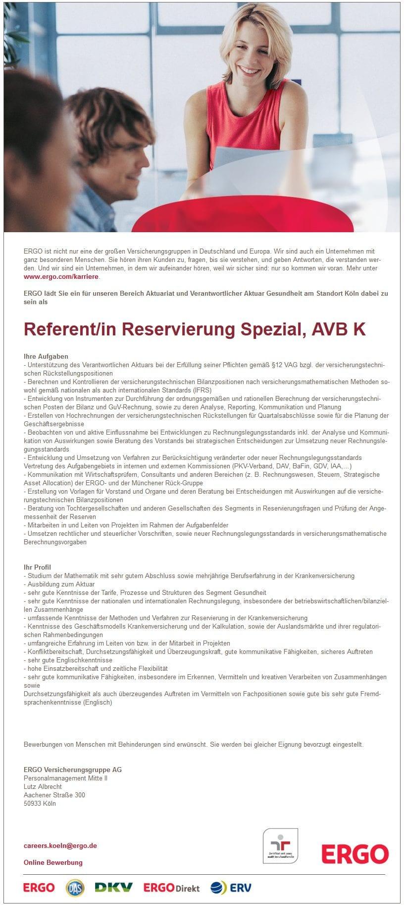 Referent Reservierung Spezial AVB K - nee, is klar