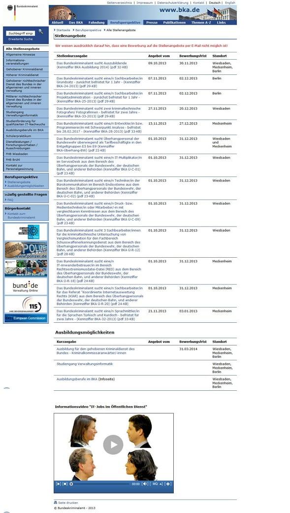 BKA Karriere-Website - Goldene Runkelrübe für die unattraktivste Karriere-Websites