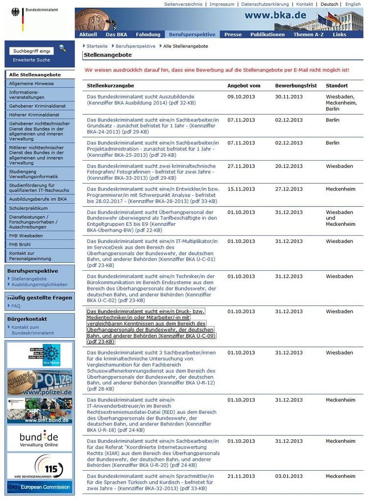 BKA - Stellenangebote zum Abgewöhnen