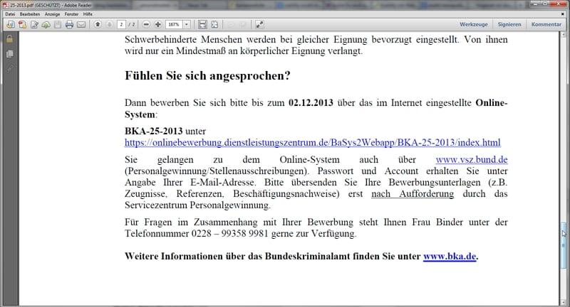 Karriere beim BKA - Von HTML zu PDF zu Online...