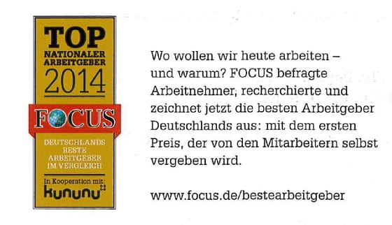 FOCUS - Deutschlands beste Arbeitgeber 2014