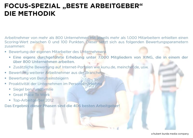FOCUS-Spezial - Beste Arbeitgeber - Die Methodik 2013 - Quelle hubert burda media company