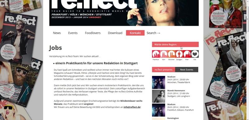reflect.de - Stellenanzeigen ja, aber nicht für Vertriebler
