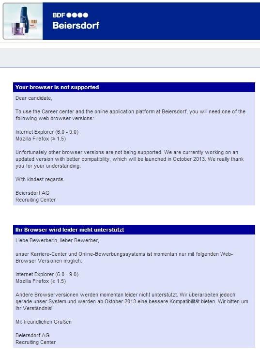 Bewerbungen bei Beiersdorf via Google Chrome nicht möglich