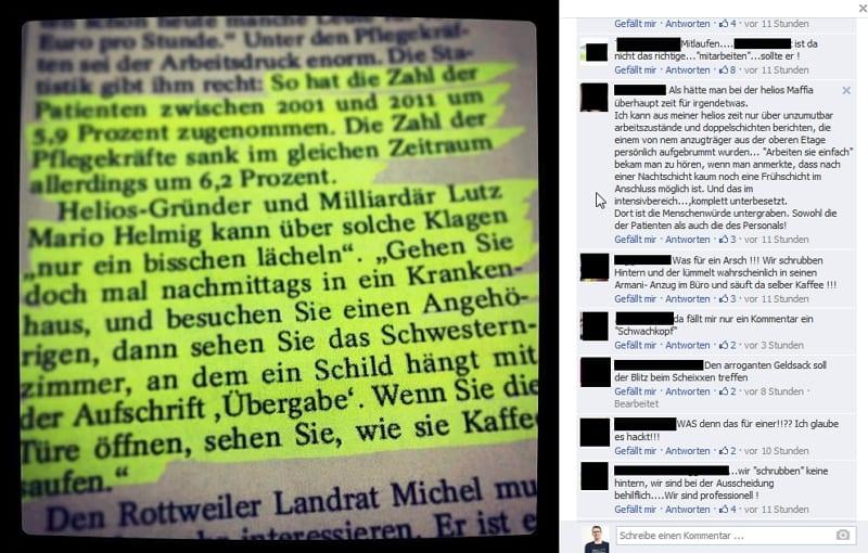 Krankenschwestern saufen Kaffee - Kommentare auf das Zitat des Helios-Gründers auf Facebook