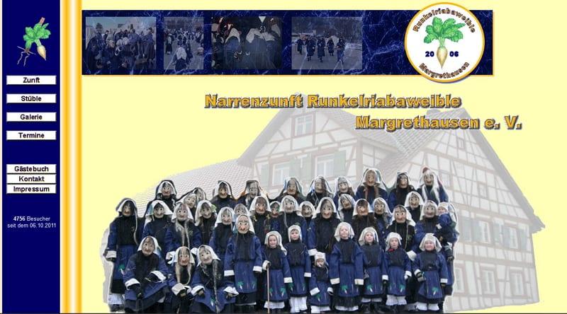 Website-Screenshot der Narrenzunft Runkelriabaweible Margrethausen