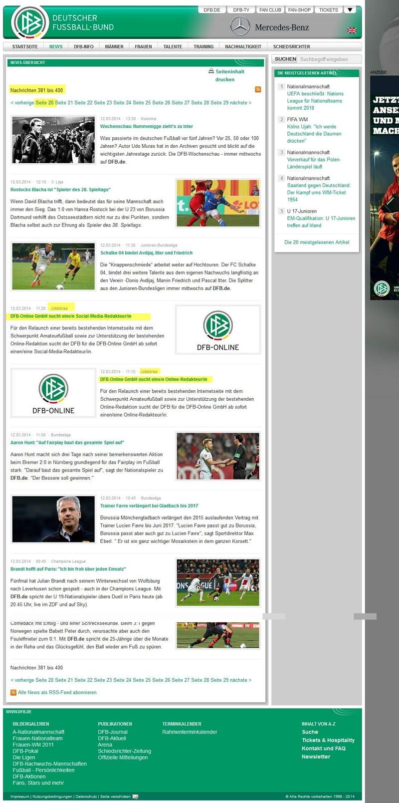 DFB sucht Online- und Social Media-Redakteur