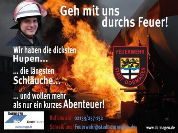 Feuerwehr Dormagen - dicke Hupen, lange Schläuche - frechmutige Personalwerbung - Quelle Feuerwehr Dormagen
