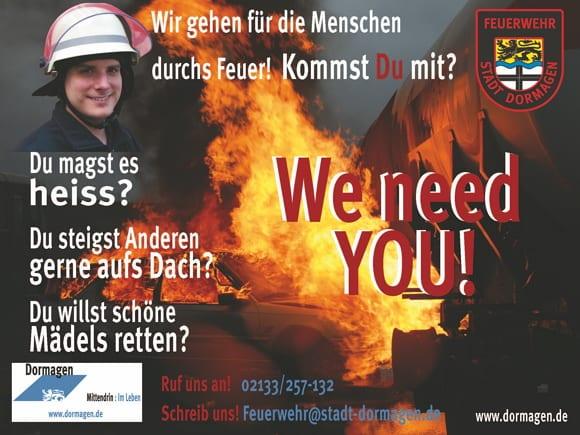 Frechmutige Personalwerbung der Feuerwehr Dormagen - du magst es heiß, willst schöne Mädels retten