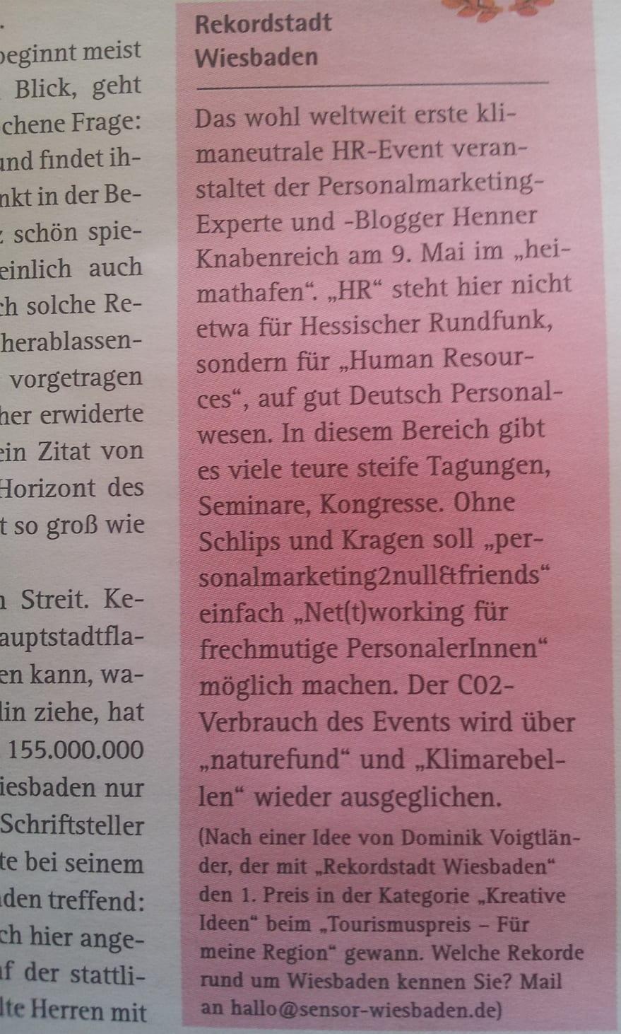HR Barcamp 2014: Heißer Scheiß für Personaler und das total verrückte HR-Taxi 2 weltweit erste klimaneutrale HR Event in Wiesbaden