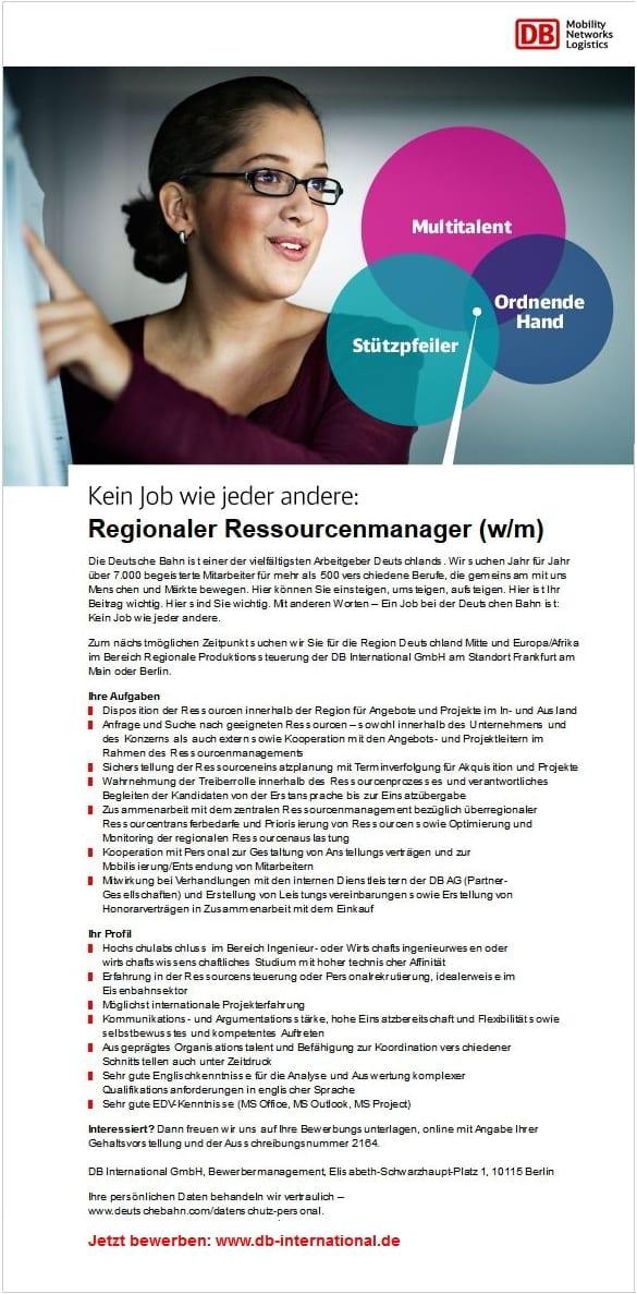 Kein Job wie jeder andere - Regionaler Ressourcenmanager gesucht