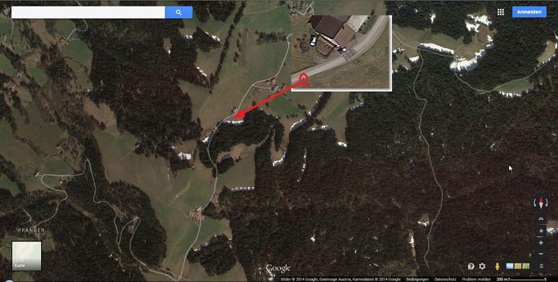 Personalmarketing mit Alpen-Panorama an gut frequentierter Stelle - Bildquelle Google Maps