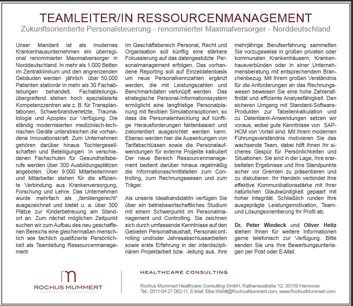 Stellenanzeige Teamleiter Ressourcenmangement