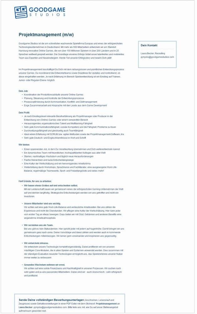 Stellenanzeigen im Vergleich - Anzeige A - reine Textwüste - Quelle Monster