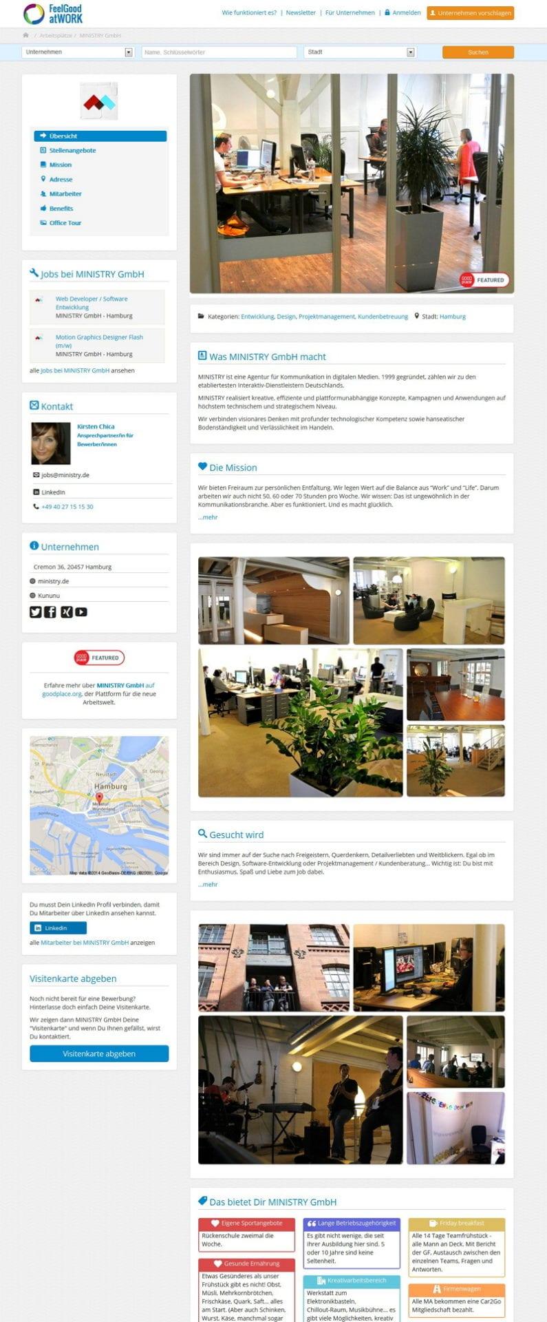 Unternehmensdetailsite - feelgood@work